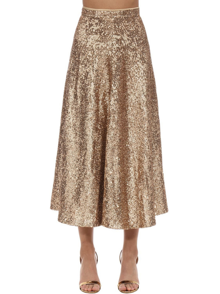 IN THE MOOD FOR LOVE High Waist Sequined Midi Skirt in gold / beige