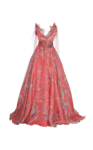 Luisa Beccaria Floral Print Ball Gown in pink