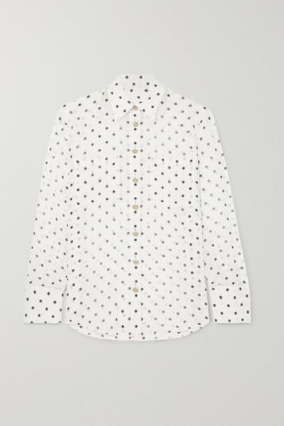 Balmain - Polka-dot Silk-georgette Blouse - White