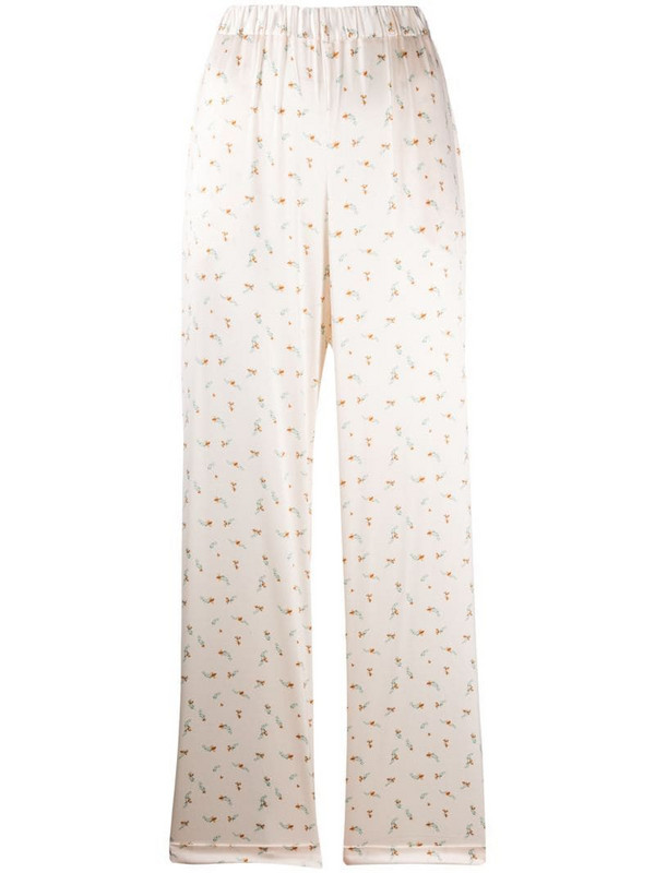 12 STOREEZ floral print silk trousers in neutrals