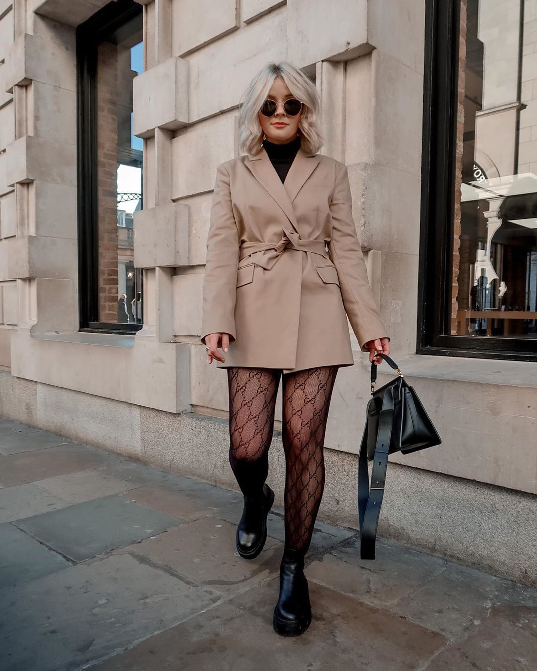 jacket blazer black boots tights turtleneck sweater black bag