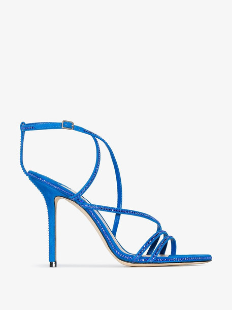Jimmy Choo Dudette 100mm crystal sandals in blue