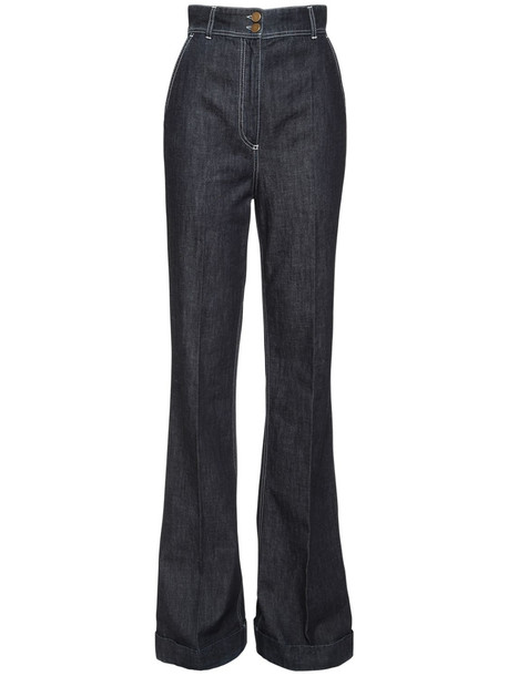 PHILOSOPHY DI LORENZO SERAFINI High Waist Flared Cotton Denim Jeans in blue