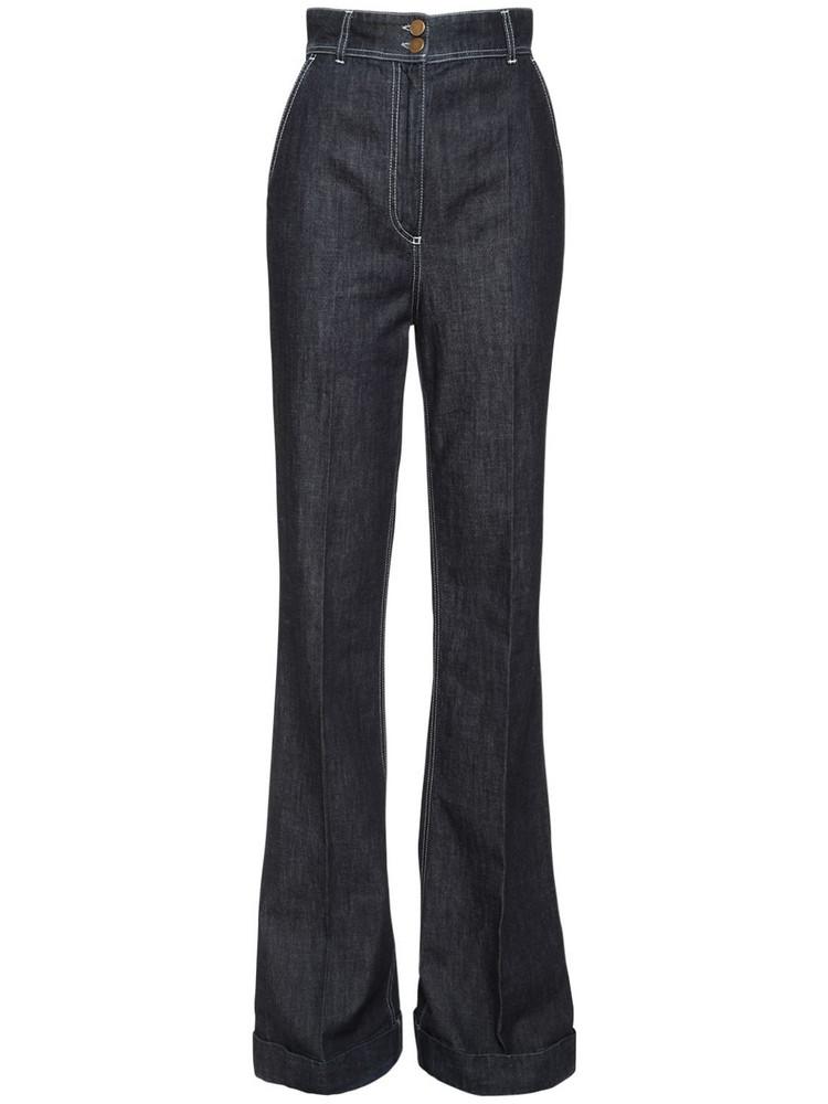 PHILOSOPHY DI LORENZO SERAFINI High Waist Flared Cotton Denim Jeans in blue