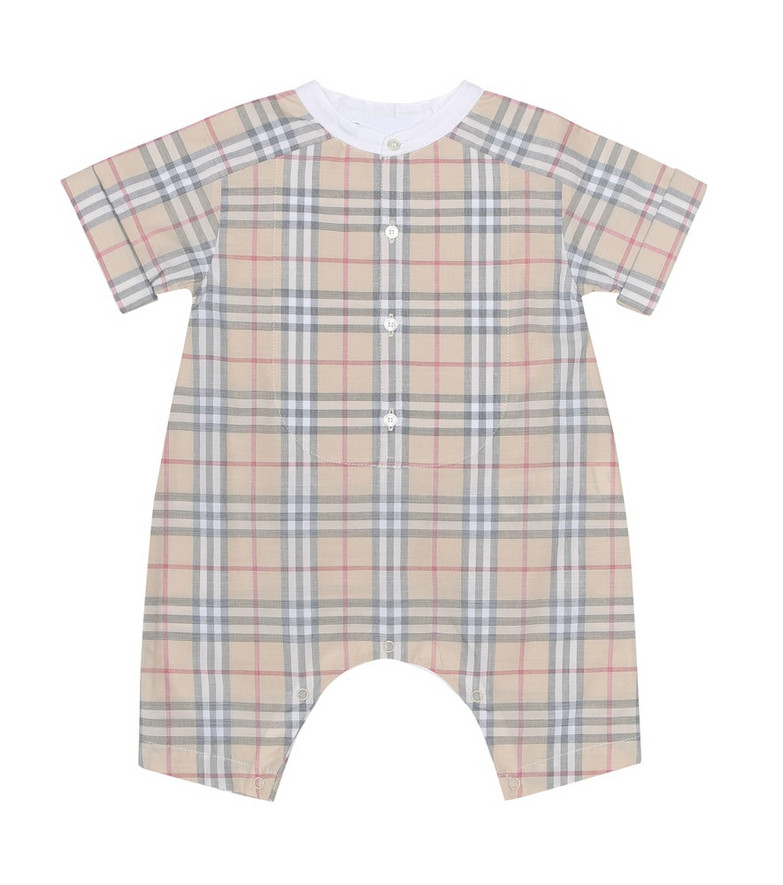 Burberry Kids Check cotton playsuit in beige