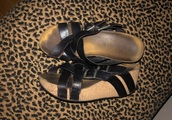 shoes,black strappy wedges