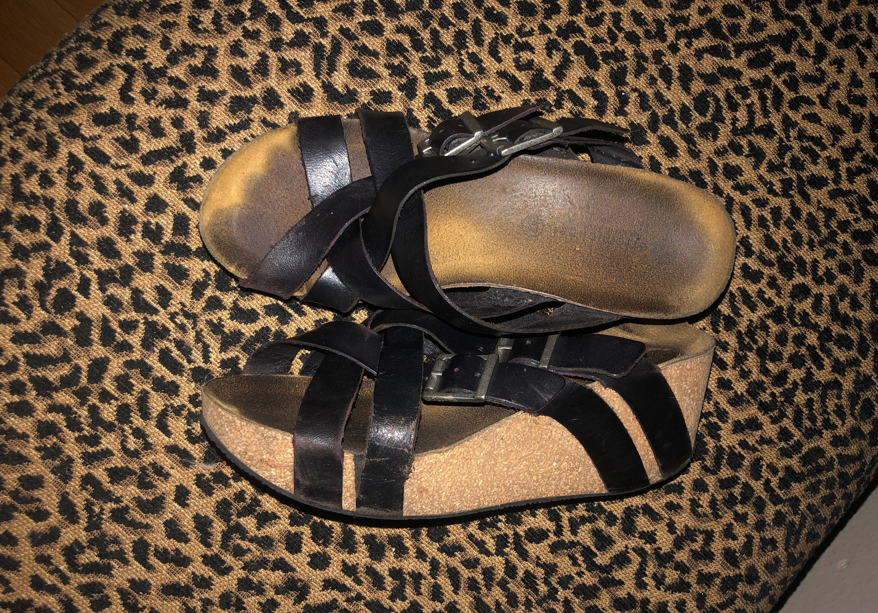 shoes black strappy wedges