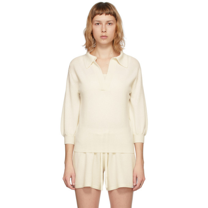 Lisa Yang Off-White Cashmere The Kimberly V-Neck Pullover in cream