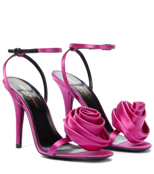 Saint Laurent Ivy silk sandals in pink