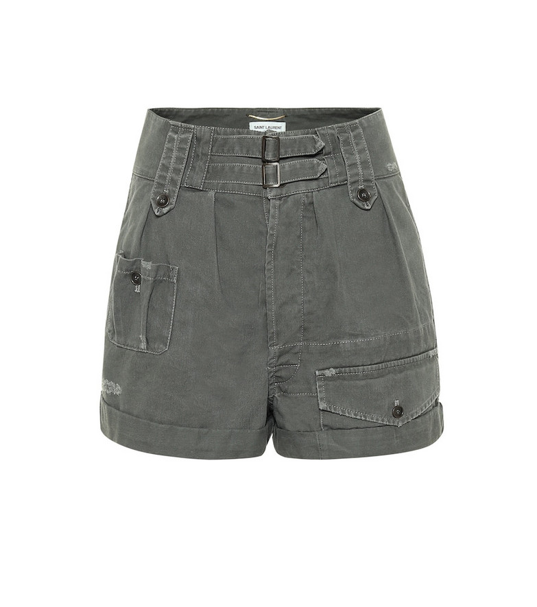Saint Laurent High-rise cotton and ramie shorts in grey