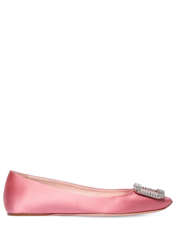 ROGER VIVIER 10mm Trompette Crystal Satin Flats in pink