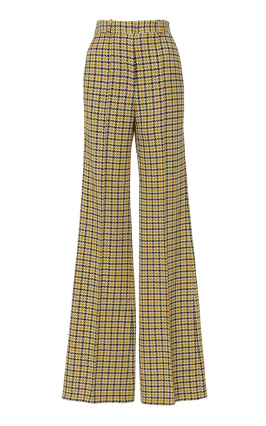 Victoria Beckham Plaid Tweed High-Waisted Wool Wide-Leg Pants Size: 10 in black