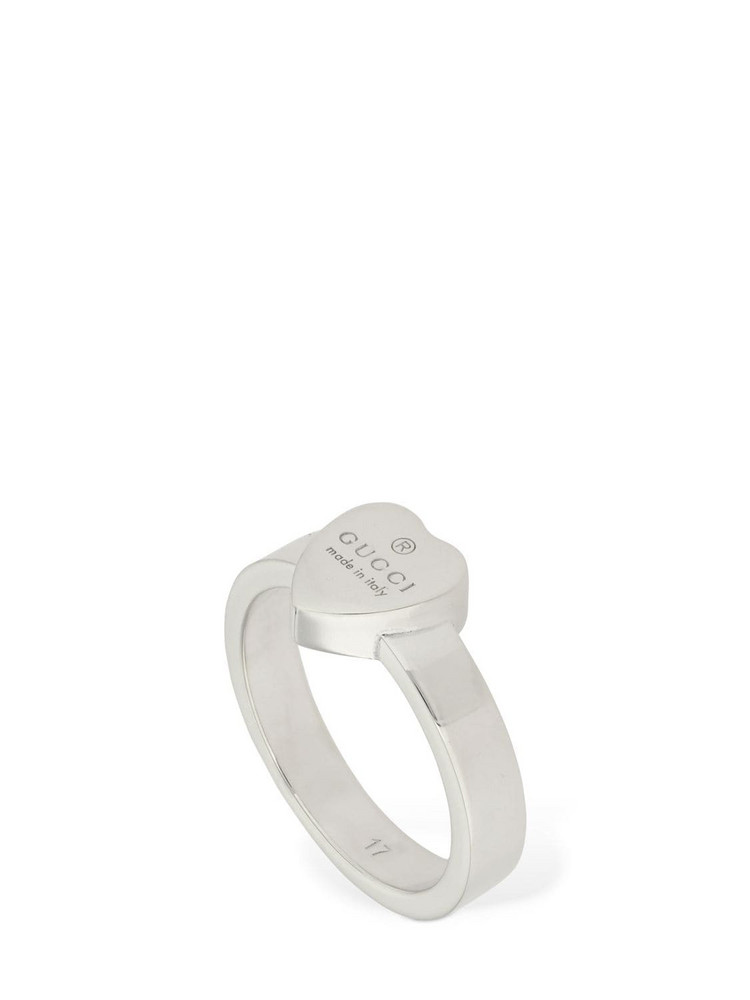 GUCCI Logo Heart Ring in silver
