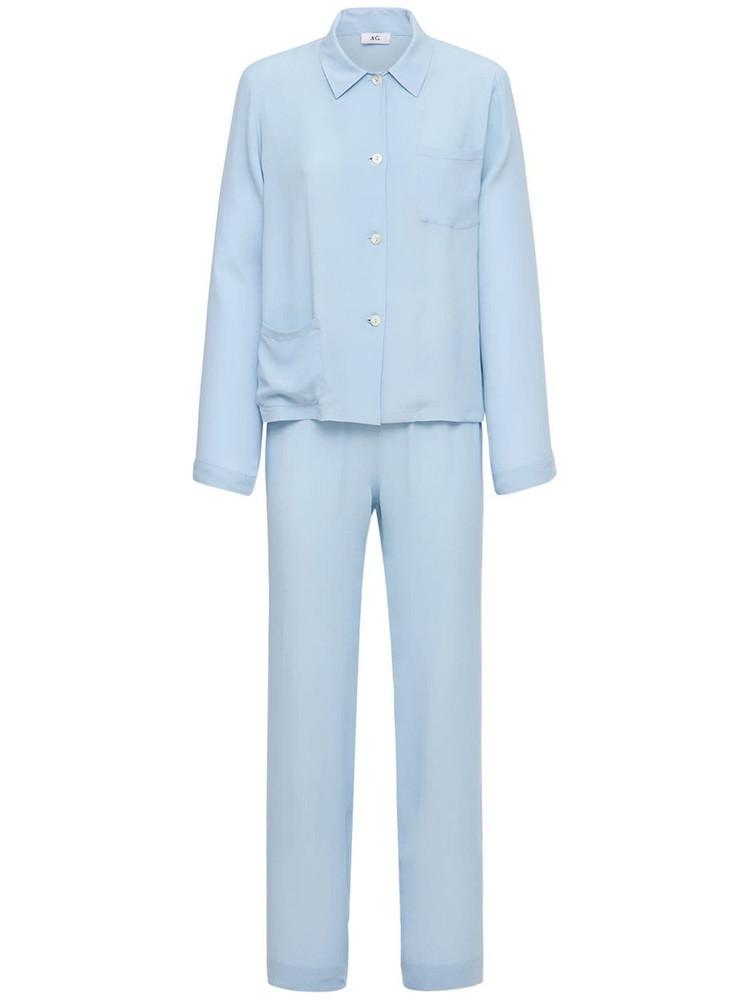 AG Silk Blend Satin Pajama Set in blue