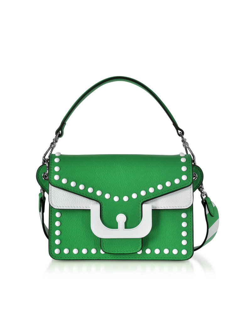Coccinelle Ambrine Graphic Studs Color Block Leather Crossbody Bag in green