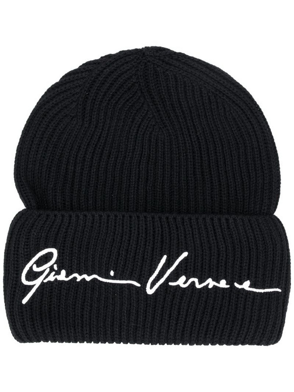 Versace embroidered logo beanie in black
