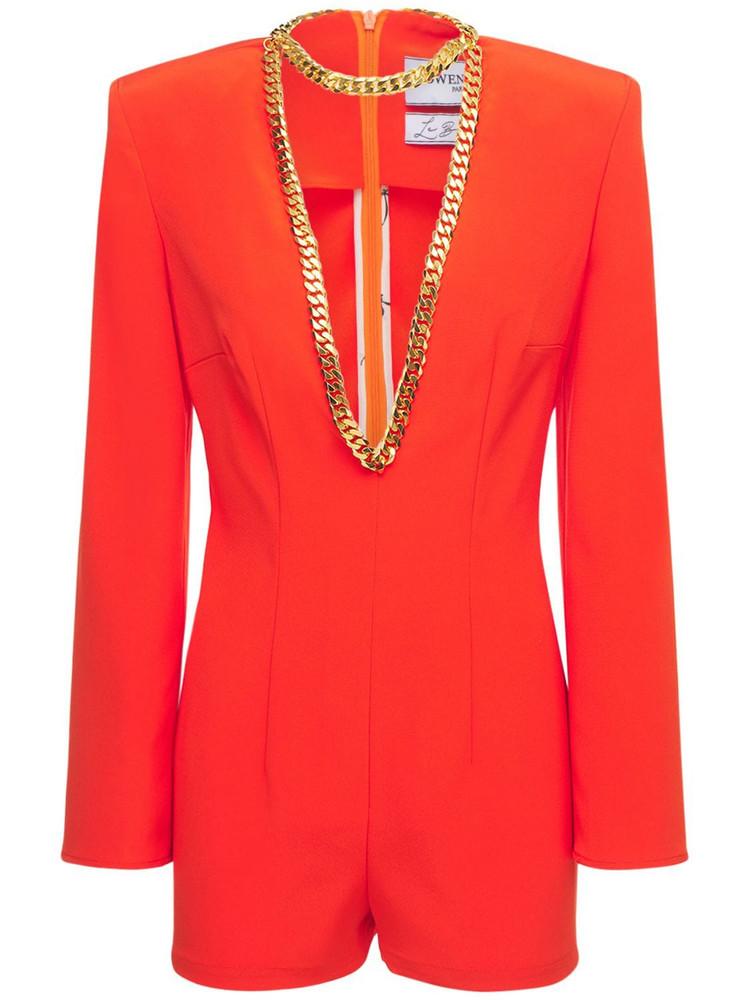 ROWEN ROSE Cady Deep V Neck Romper W/ Necklace in orange