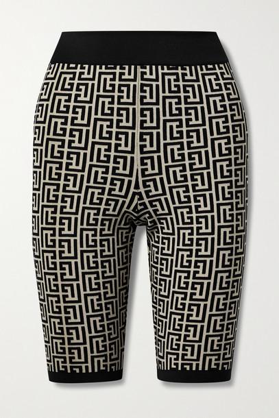 BALMAIN - Jacquard-knit Wool-blend Shorts - Black