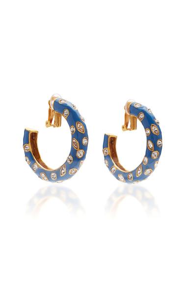 Oscar de la Renta Crystal, Enamel And Gold-Tone Hoop Earrings in blue