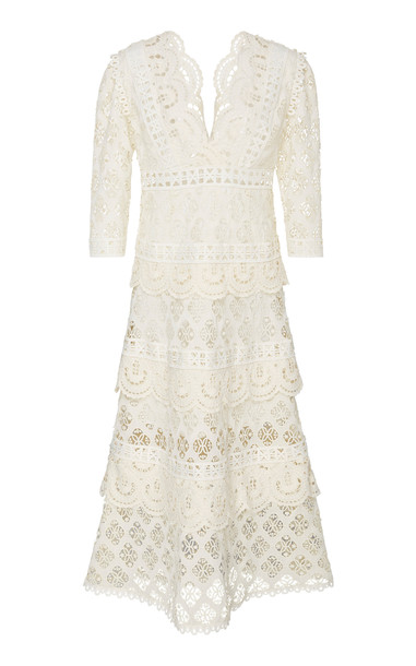 Sea Laurel Lace Midi Dress Size: 4 in white