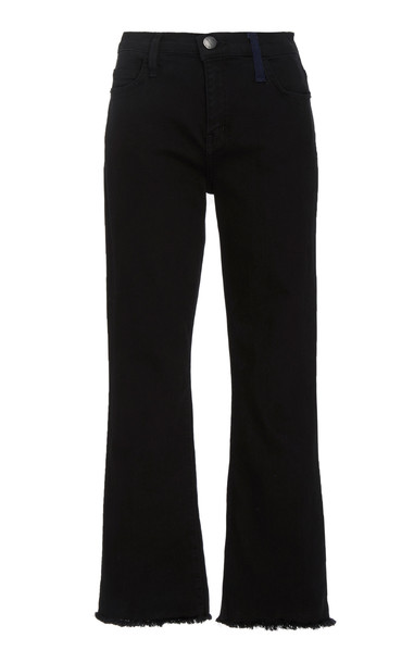Current/Elliott The Kick Cropped High-Rise Flared Jeans Size: 27 in black