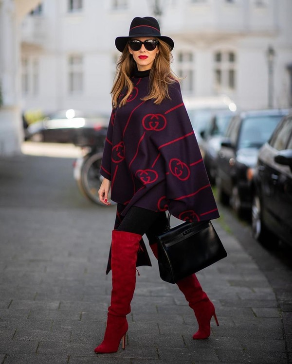 coat wool coat poncho over the knee boots red boots black skinny jeans black bag hat