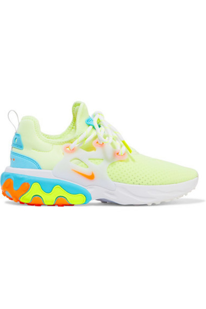 Nike - React Presto Neon Suede And Rubber-trimmed Mesh Sneakers - Yellow