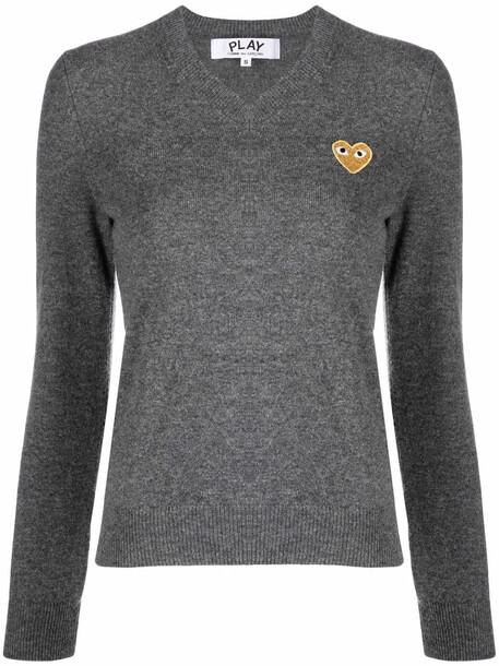Comme Des Garçons Play embroidered heart motif jumper - Grey