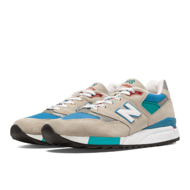 New Balance 998 Connoisseur East Coast Summer Men's Made in USA Shoes - Sand, Blue Surf, Sea Glass (M998CSB)