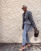 jeans,mom jeans,high waisted jeans,white sandals,grey blazer,brown bag,louis vuitton bag,black t-shirt