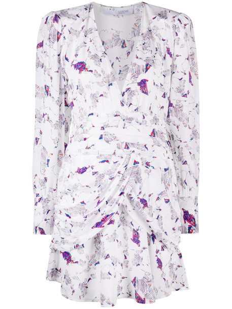 IRO abstract-print silk mini dress in white
