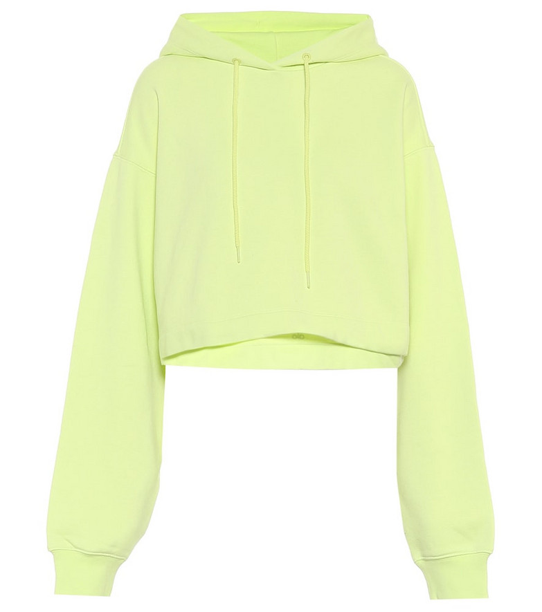 Alo Yoga Bae cropped cotton-blend fleece hoodie in yellow