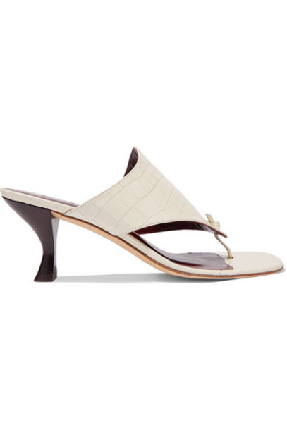 STAUD - Keith Croc-effect Leather Mules - Cream