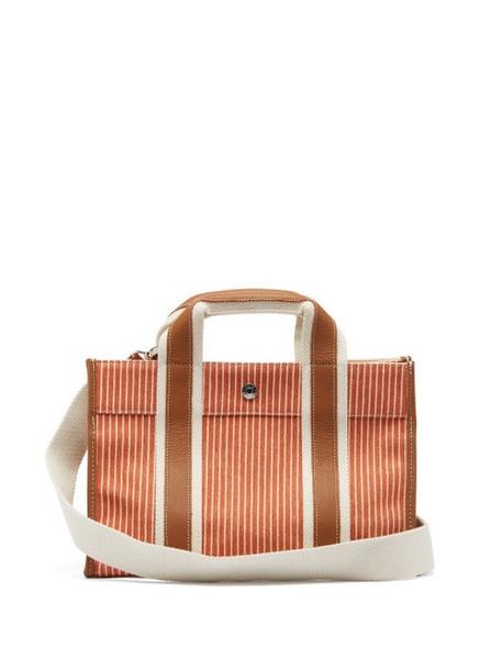 Rue De Verneuil - Traveller Small Leather-trim Linen Tote Bag - Womens - Orange Multi