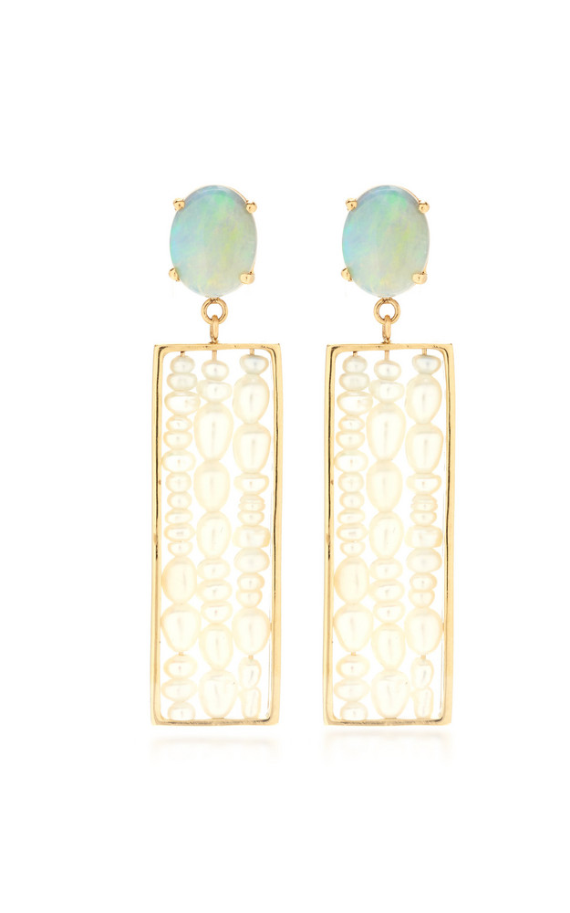 WWAKE Metaphor Gold Opal And Seed Pearl Earrings in white