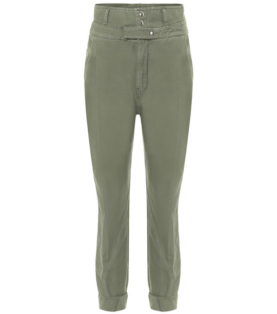 Frame Twisted cotton pants in green
