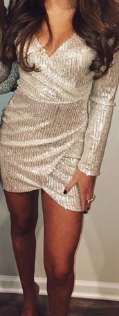 dress,sequins,sequin dress,silver,long sleeve dress,mini dress,fashion,style,stylish,vneck dress,wrap dress