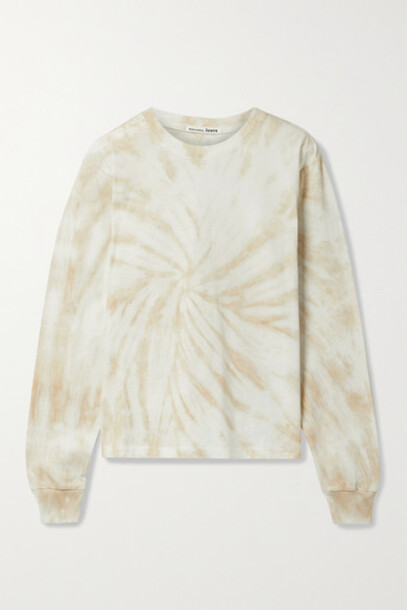 Reformation - Boyfriend Tie-dyed Organic Cotton-jersey Top - Beige