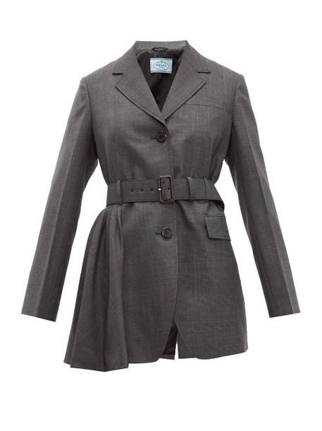Prada - Belted Prince Of Wales Check Wool Jacket - Womens - Grey Multi
