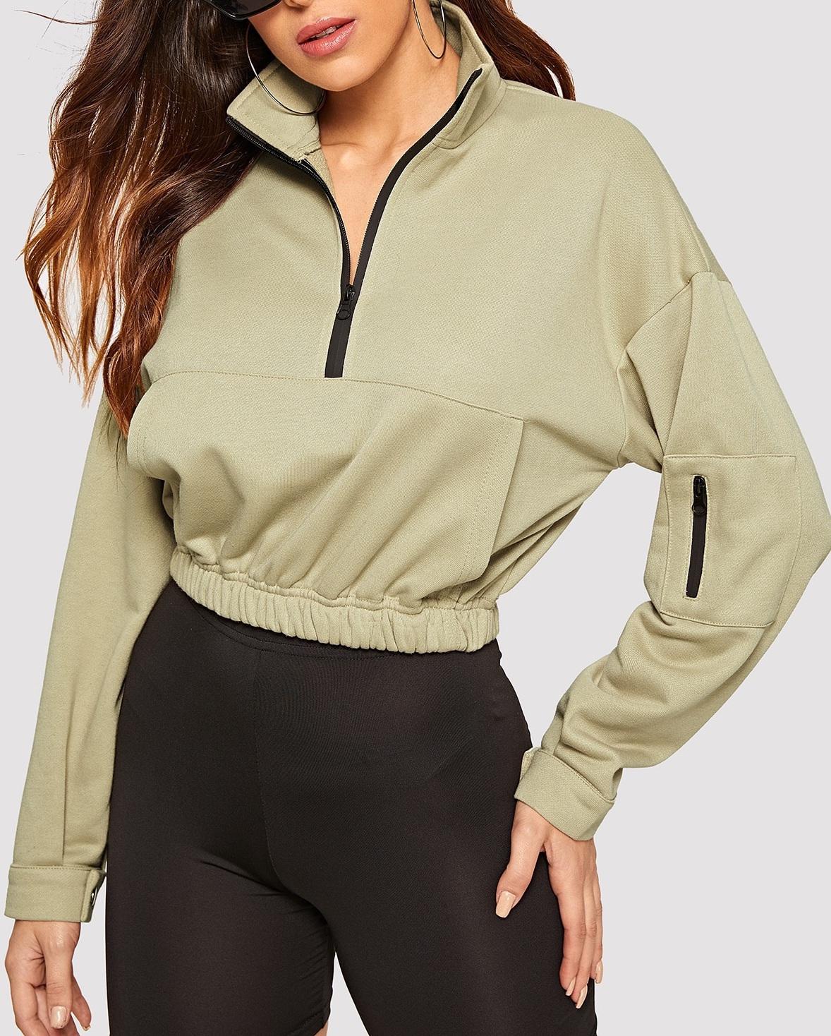 sweater girly girl girly wishlist cropped cropped sweater crop half zip zip trendy