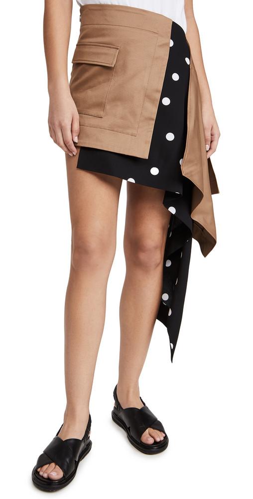 Monse Cascade Trench and Dot Miniskirt in khaki / multi