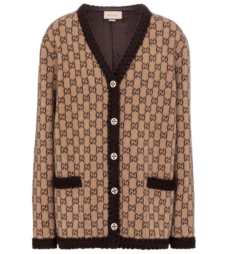 Gucci GG jacquard wool cardigan in brown