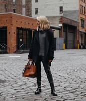 sweater,turtleneck sweater,wool sweater,knitted sweater,black boots,lace up boots,leather pants,black coat,brown bag