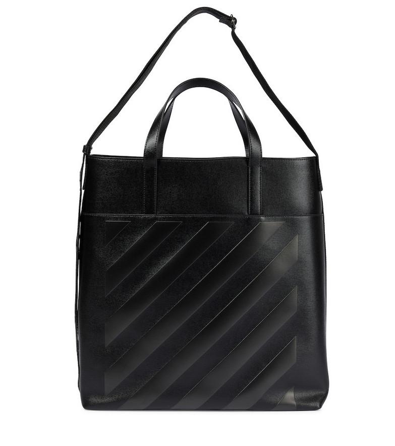 Off-White Diag leather tote in black