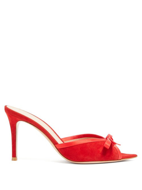 Gianvito Rossi - Satin-bow 85 Open-toe Suede Mules - Womens - Red