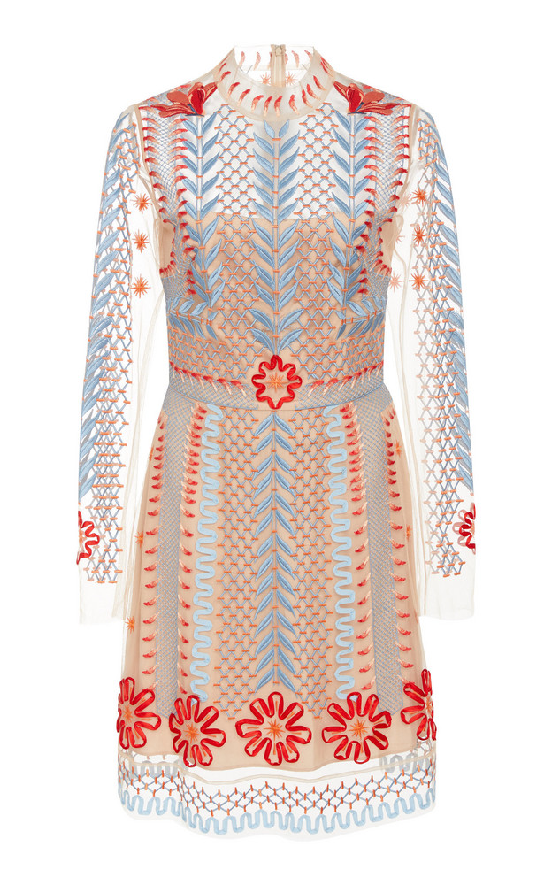 Temperley London Teahouse Organza Embroidered Dress in pink