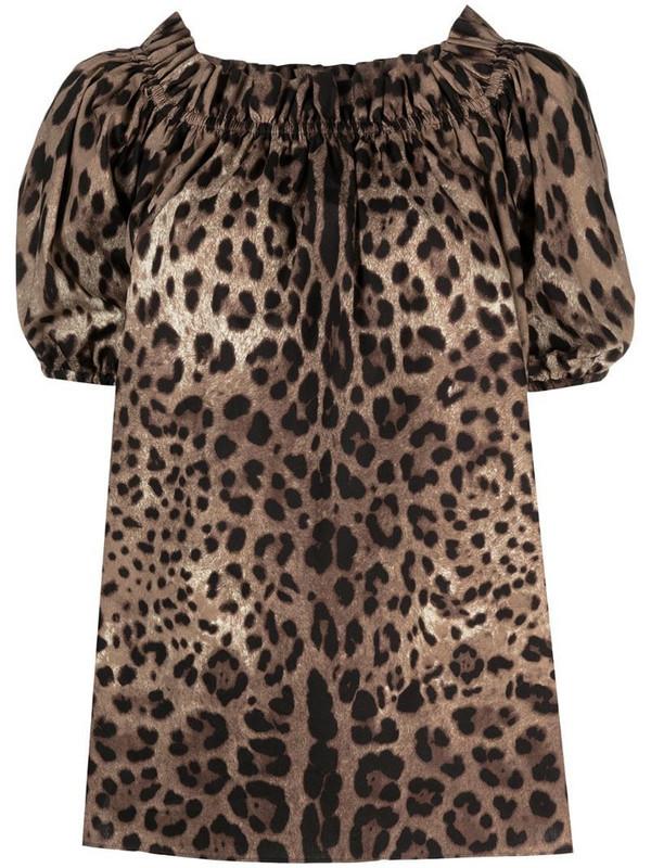 Dolce & Gabbana leopard-print off-shoulder top in brown