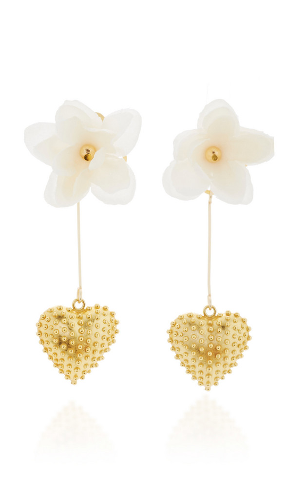 Mallarino Marguerite 24K Gold Vermeil, Silk and Crystal Earrings in pink