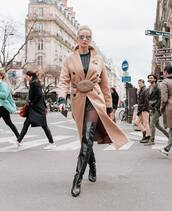 bag,gucci bag,pink bag,black boots,over the knee boots,pink coat,double breasted,midi dress,black dress,tights