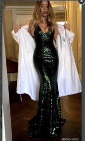 dress,sequins,emerald green dress,long prom dress,mermaid prom dress